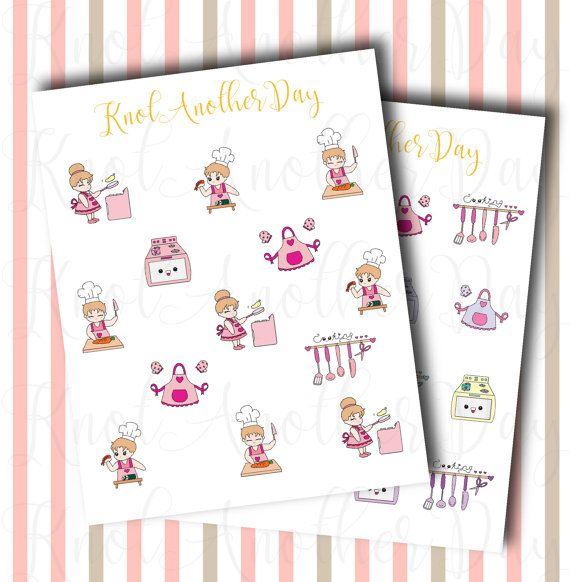 MISU Cooking in the Kitchen Planner Stickers by by KnotAnotherDay #cooking #apron #kitchen #cute #planner #sticker #chef