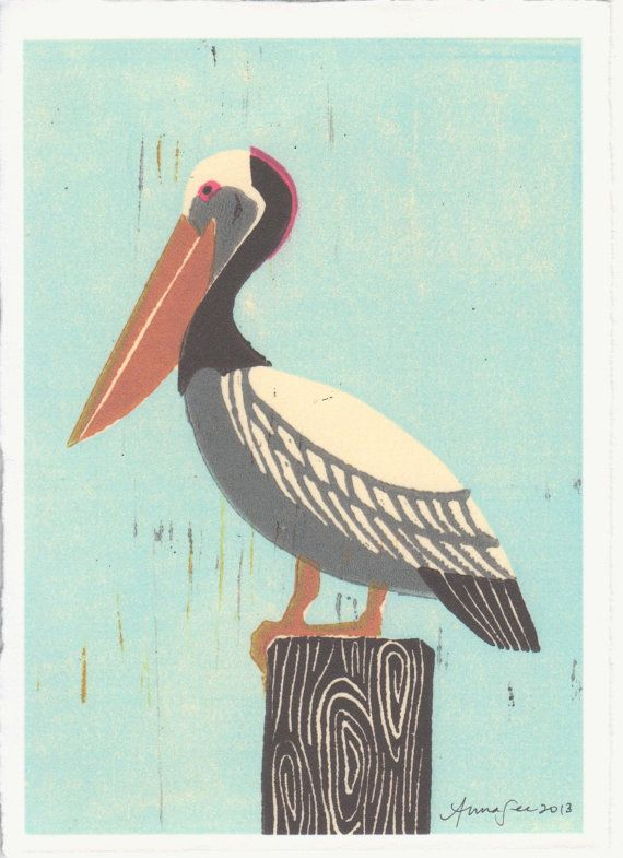 PELICAN Poster Size Linocut Reproduction Art Print 8 x by annasee