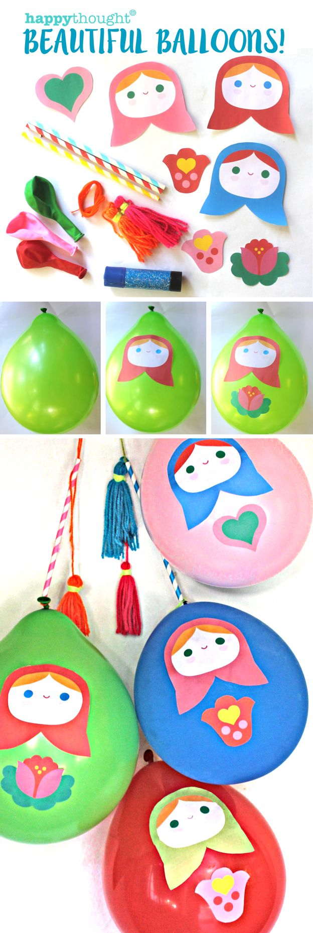 Printable balloon decorations for fun party time! Yippee! Instant download at happythought.co.uk