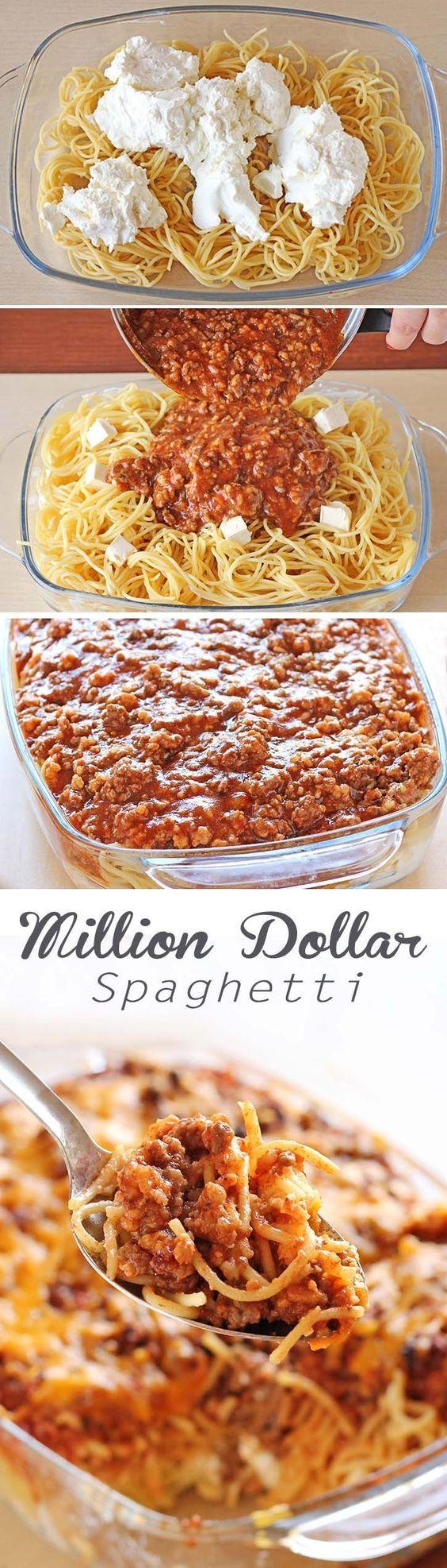 Spaghetti noodles, spaghetti sauce, beef, cottage cheese, sour cream and cream cheese! This tastes like a million bucks.