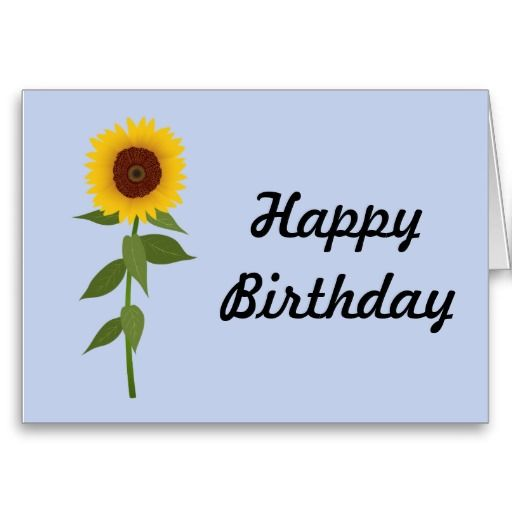 Sunflower - Happy Birthday Card Template | Sunflower | Pinterest