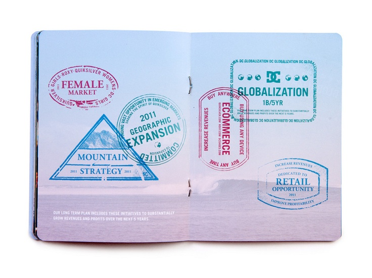 """Quiksilver's 2011 Annual Report was a passport. Promotes the """"globalness"""" of the brand as well as exploration, key with their target audience."""
