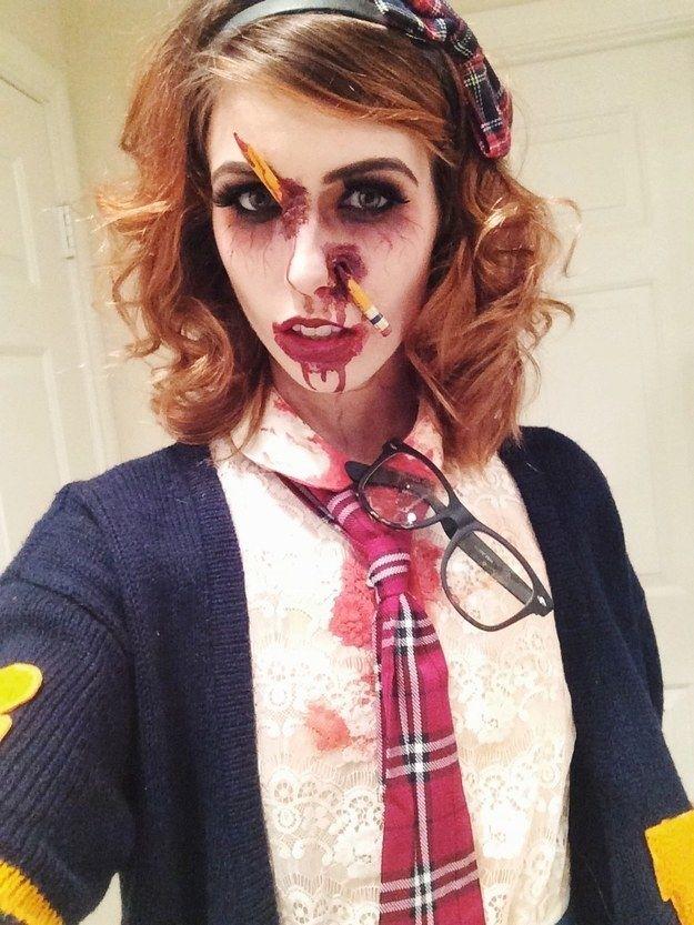Zombie School Girl  All Hallows Eve Costumemakeup  Halloween, Girl -9660