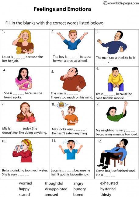 Feelings Fill In worksheets