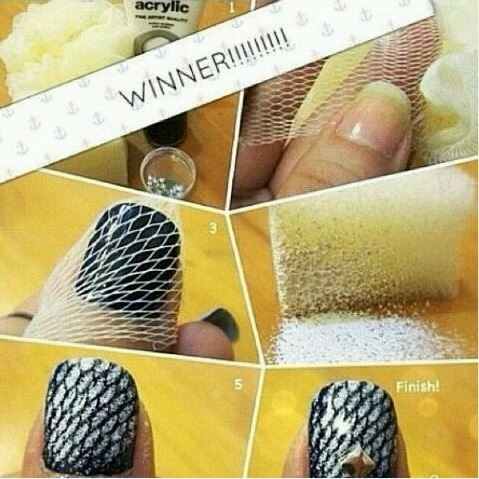 Have you ever seen Fishnet Nails Art Using Netting ? This glamorous nail design is incredibly fun and easy to do.  Directions--> http://wonderfuldiy.com/wonderful-diy-glamorous-fishnet-nails-at-home/