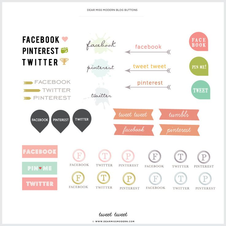 Social media buttons - various. I like the arrow and banner ones most.