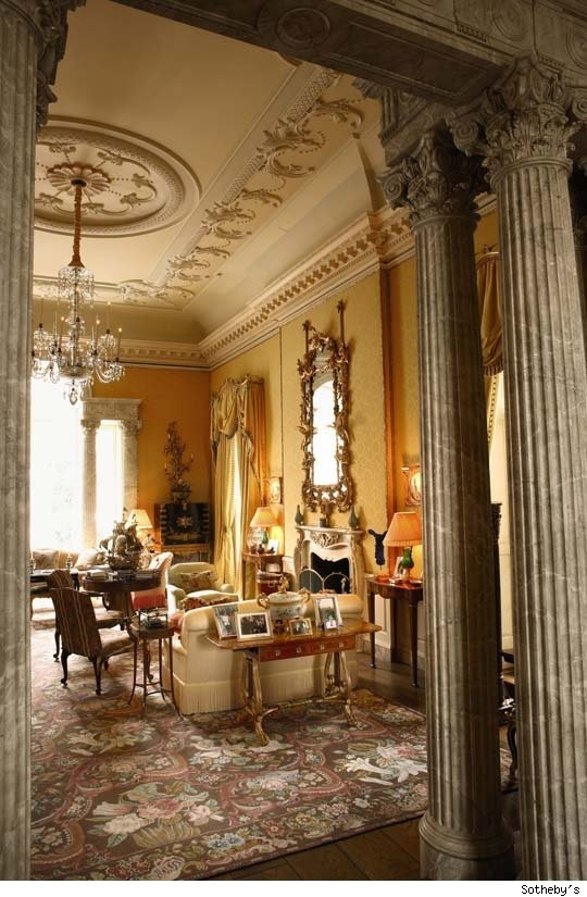 A view into the drawing room of the Kluge estate in Albermarle