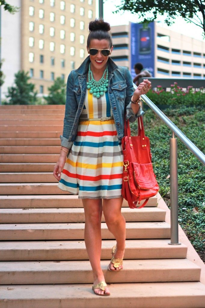 Beautiful Colorful stripes summer dress top denim jacket and brown red leather hand bag and matching ladies pumps and mint magnificent necklace