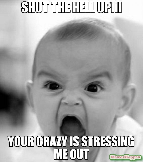 shut the hell up!!! your crazy is stressing me out meme - Angry Baby