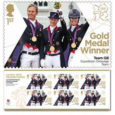 Gold Medal Winner stamp - Laura Bechtolsheimer, Charlotte Dujardin, Carl Hester, Equestrian, Dressage Team