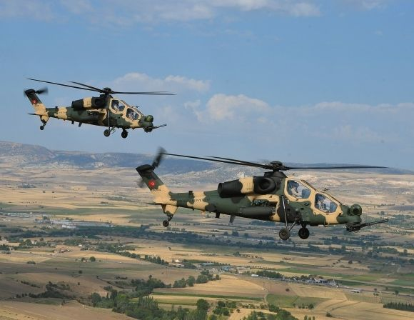 Two of 51 Turkish Aerospace Industries, Inc (TAI) T-129 «ATAK».helicopters on order. A Turkish indigenously licence development of the AgustaWestland A-129 Mangusta attack helicopter.
