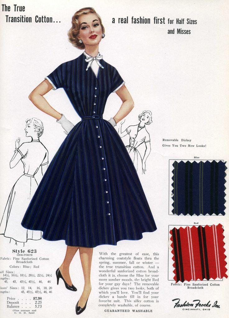 1950 fashions | ON SALE 1950s Fashion Advertisement Fashion Frocks 623 Navy Rockabilly ...