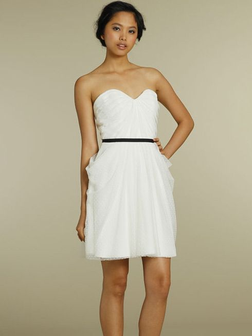 white strapless short a-line casual bridesmaid dress 2012 with black ribbon belt - In Light Sky Blue