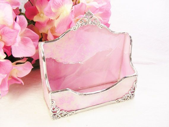 Pink Wispy Business Card Holder by MoreThanColors on Etsy, $38.50