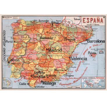 Giftwrap - Map of Spain - Bobangles #Cavallini #vintage #map #poster #giftwrap #Spain #Barcelona #Madrid