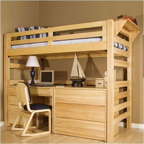 University Loft Graduate Series Twin XL Open Loft Bed Natural Finish | FREE SHIPPING