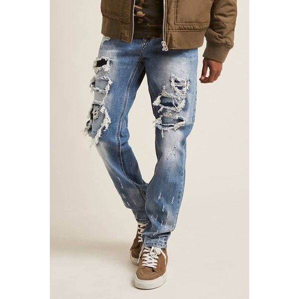 Forever21 Victorious Distressed Moto Jeans ($48) ❤ liked on Polyvore featuring men's fashion, men's clothing, men's jeans, indigo, mens torn jeans, mens wide leg jeans, mens urban jeans, mens ripped jeans and mens distressed jeans
