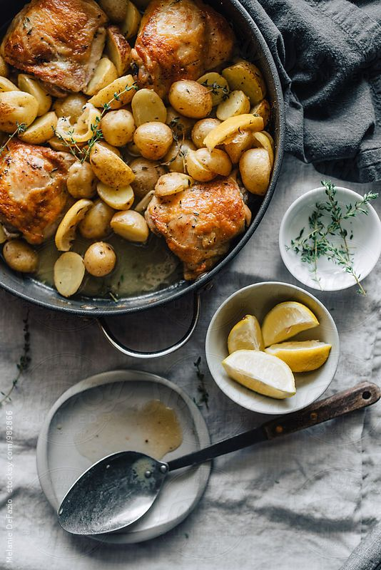 Pan roasted chicken and fingerling potatoes with lemon