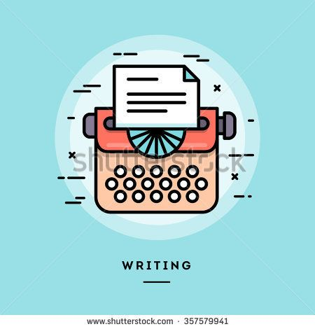 Typing machine, flat design thin line banner, usage for e-mail newsletters, web banners, headers, blog posts, print and more