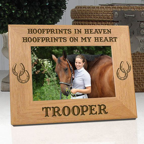 "Personalized Memorial Horse Frame ""Hoofprints In Heaven Hoofprints On My Heart"""