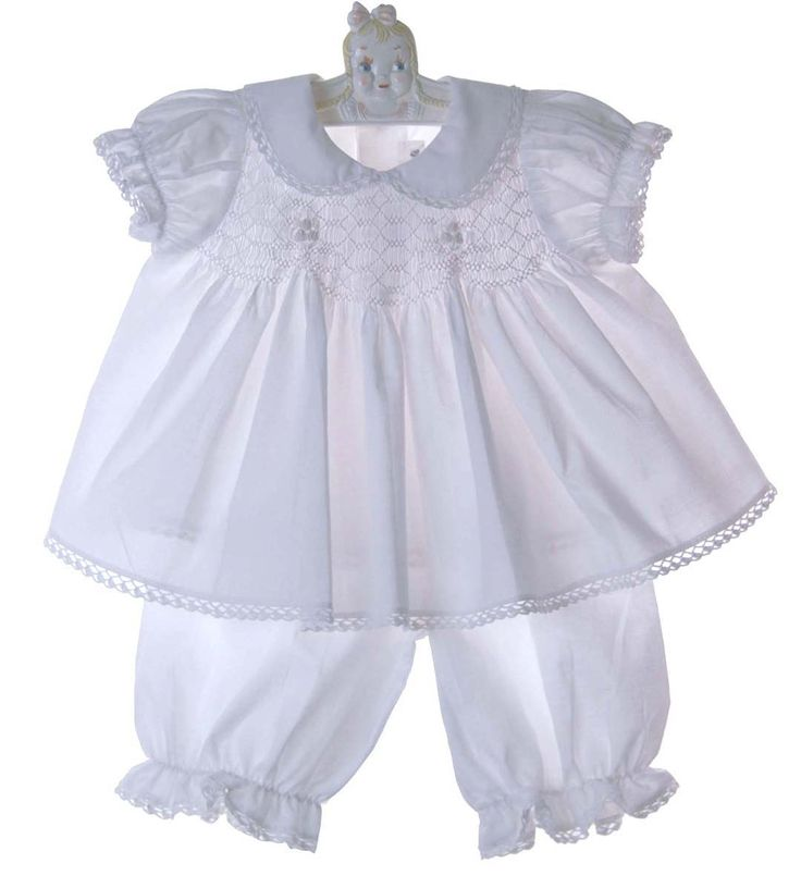 top wedding invitations016%0A NEW Fantaisie Kids White Cotton Smocked Pantaloon Set with Matching Bonnet