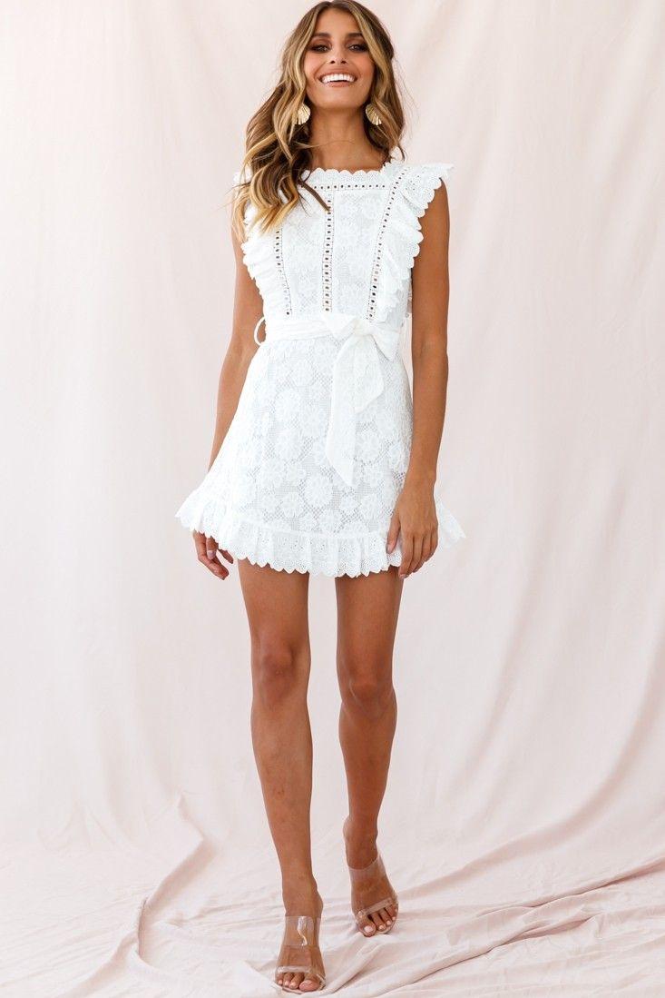 Prairie Crochet Frill Dress White White Short Dress White Dress Short Casual White Dress