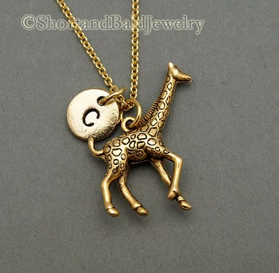 Large Giraffe necklace, antique gold, initial necklace, initial hand stamped, personalized, monogram