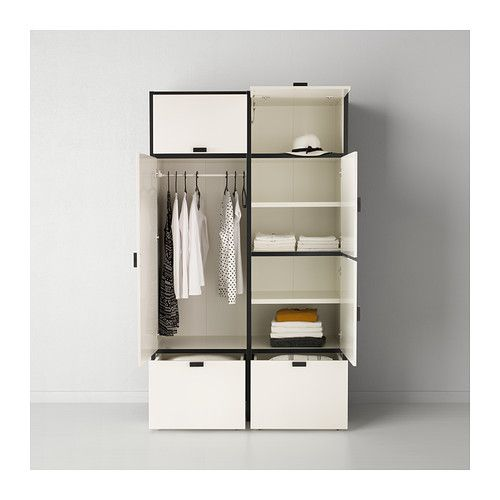 ODDA Wardrobe IKEA The bottom drawers have castors and therefore easy to move about. Adjustable hinges ensure that the doors hang straight.
