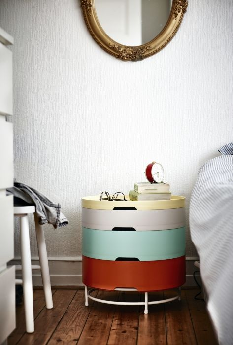 A versatile and space saving table,  with endless storage possibilities.