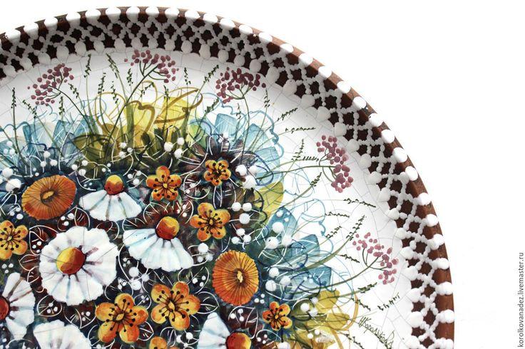Купить Керамическая настенная тарелка - керамическая посуда, тарелка из глины, Настенная тарелка, тарелка для фруктов
