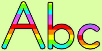 Stripey Rainbow Display Lettering - lettering, letters, display