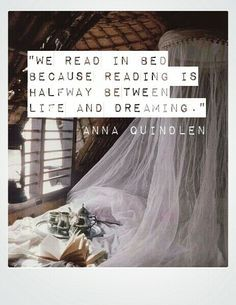 """We read in bed because reading is halfway between life and dreaming."" Anna Quindlen   (Anna has a new book out this month:  ""Still Life With Bread Crumbs"".)"