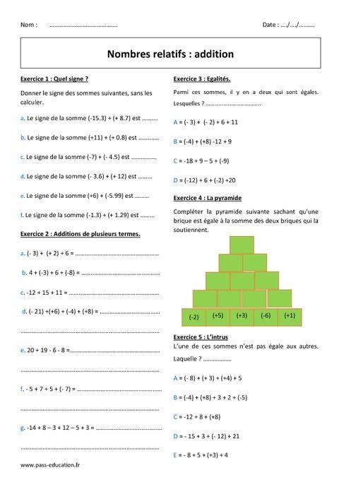 Addition des nombres relatifs - 5ème - Exercices avec ...