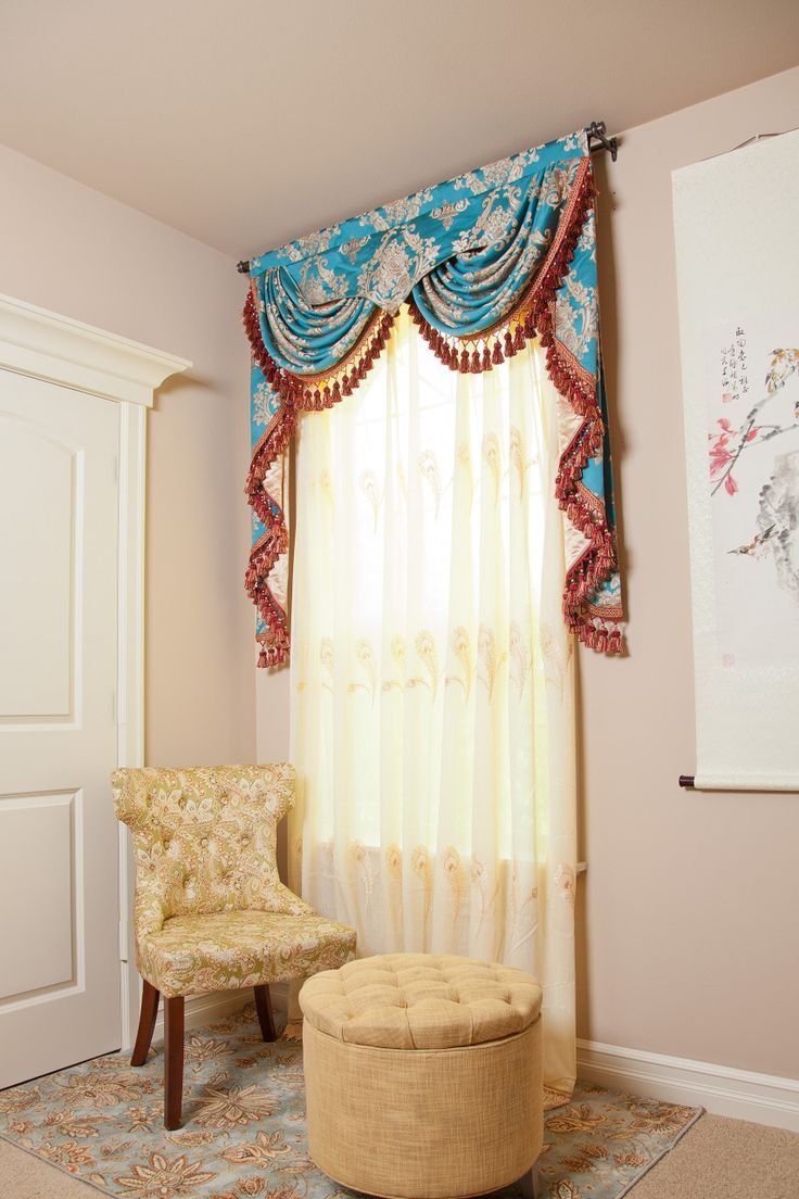 picture of blue lantern swags and pelmet valance curtain drapes