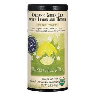 Organic USDA Green Tea with Lemon and Honey Tea Bags   The Republic of Tea