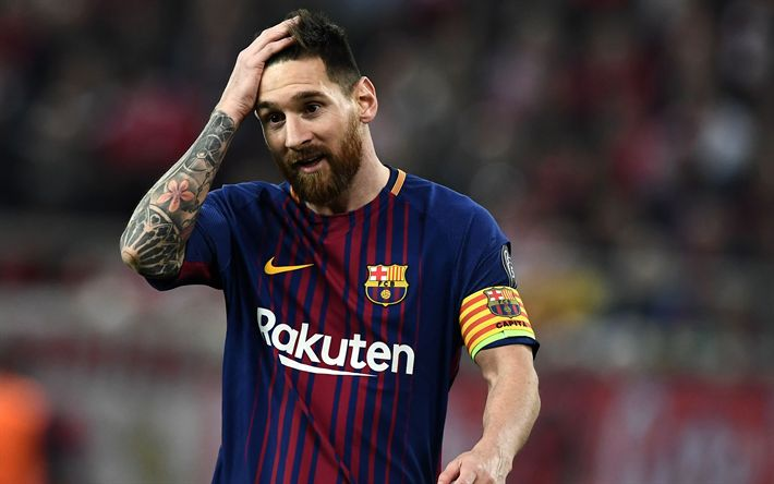 Download wallpapers Barcelona FC, Lionel Messi, Argentinian football player, Spain, football, disappointment
