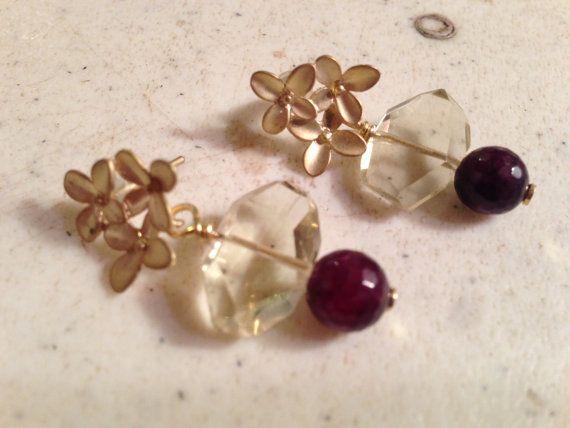 Garnet Earrings  Lemon Quartz Jewellery  Gold Jewelry  by cdjali