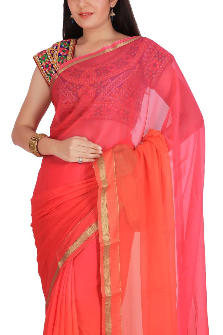 Pink Orange Shaded Satin Zari Border Pure Chiffon Saree - Chiffon Chimes | Shop Online at Ethnickart India's Best Ethnic Weares & Wares