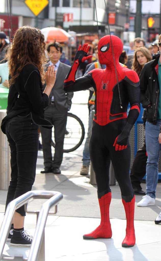 bda36dd97abc Zendaya and Tom Holland on BTS Spider-Man: Far From Home. New York ...