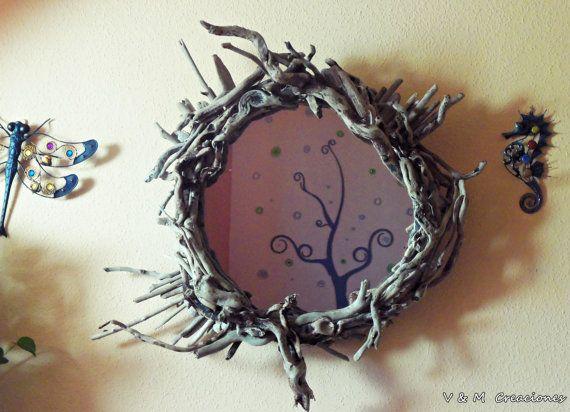 Espejo madera de mar Njord Njörd driftwood mirror por VyMCreaciones