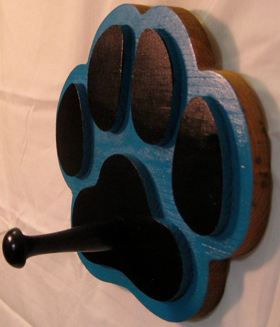 Dog Paw Print Leash Holder  Teal Blue and by GPandSonWoodcrafting, $13.95