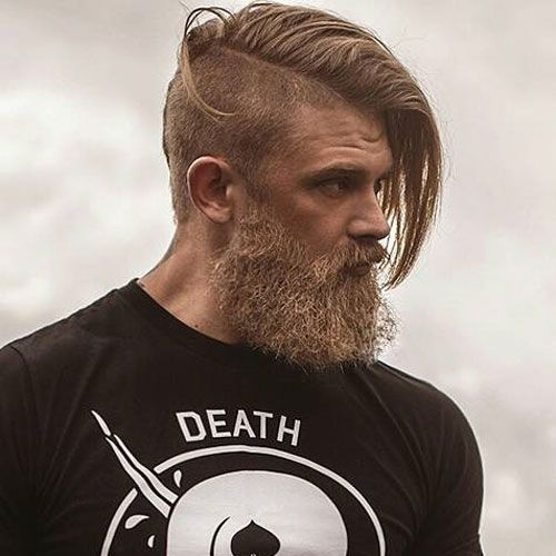 Undercut with Long Comb Over and Beard