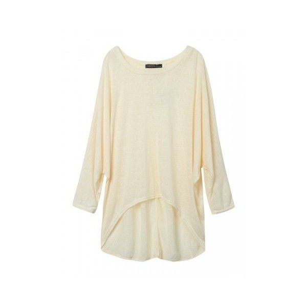 Plus Size Loose Batwing Sleeve Soild Women T-shirt ($11) ❤ liked on Polyvore featuring tops, t-shirts, beige, women plus size tops, womens plus size t shirts, plus size womens tees, collar t shirt, cotton t shirts and womens plus tops