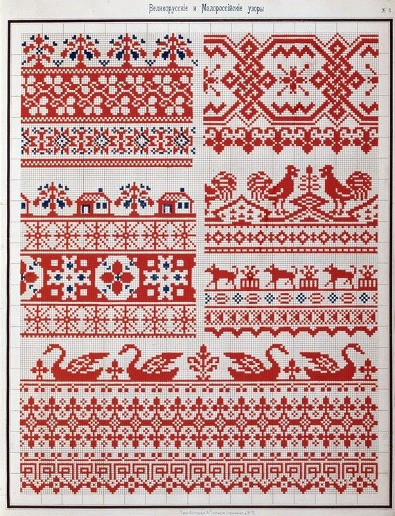 This is a scan (not an original paper copy) of an antique 1877 booklet Collection of Traditional Russian Cross Stitch embroidery Patterns. The designs