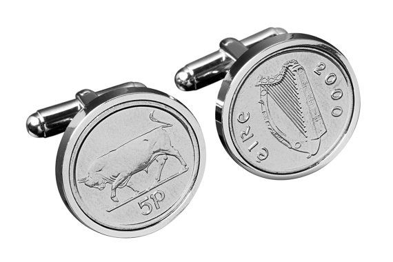 Cufflinks in handmade- Lucky Irish Bull Cufflinks- Irish 5p coins-Perfect gift gift from Ireland, $69.00