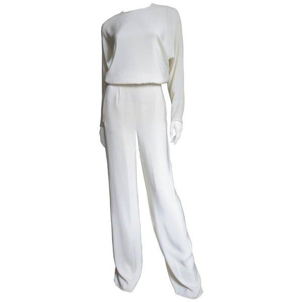 Preowned Valentino Slit Back Dolman Sleeve Jumpsuit (3,760 SGD) ❤ liked on Polyvore featuring jumpsuits, grey, silk jumpsuit, zipper jumpsuit, gray jumpsuit, grey jumpsuit and jump suit