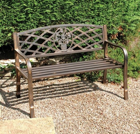 a delightful metal garden bench seat constructed from sturdy steel tubing the cast iron insert in the back rest provides an attractive central decorative - Garden Furniture Metal