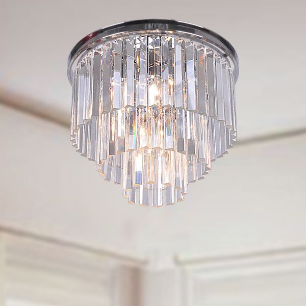 Justina 5 Light Crystal Glass Prism 3 Tier Flush Mount Chrome Chandelier Overstock Com Shopping The Ceiling Lights Modern Ceiling Light Chrome Chandeliers