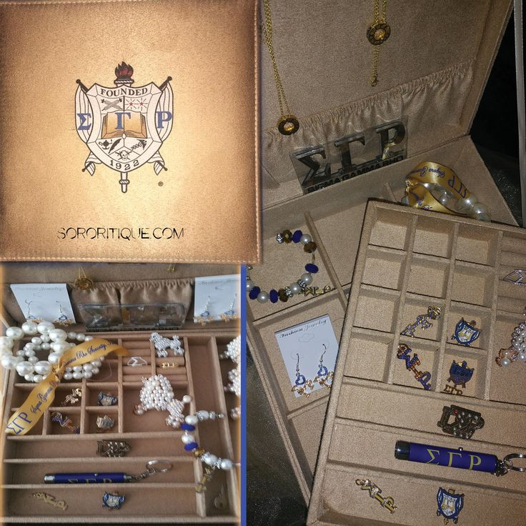 Sigma Gamma Rho Jewelry Box. It's Levels to this! one level for bracelets, necklace holder and smaller compartments to hold all of your Rhoyal Pins. GOLD box with Crest printed on the top of the box.