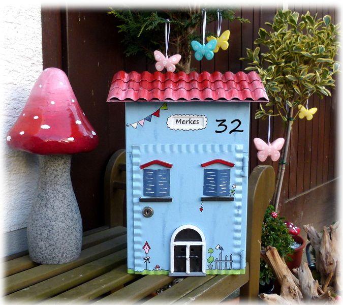 Briefkasten....+Haus+hellblau+shabby+von+KirSchenrot+auf+DaWanda.com